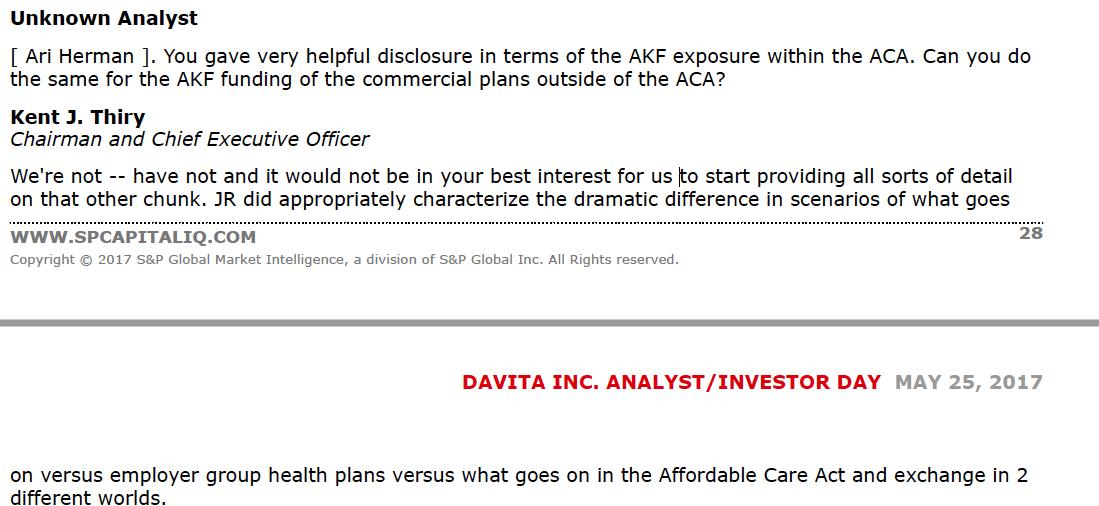 DaVita Inc : Warren and Charlie's Excellent Insurance Gambit